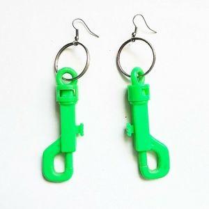 Neon Green Toy Clip Earrings